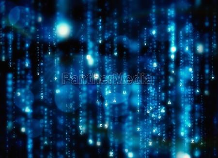 digitally generated black and blue matrix