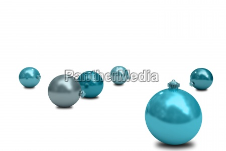 digitally generated blue christmas baubles