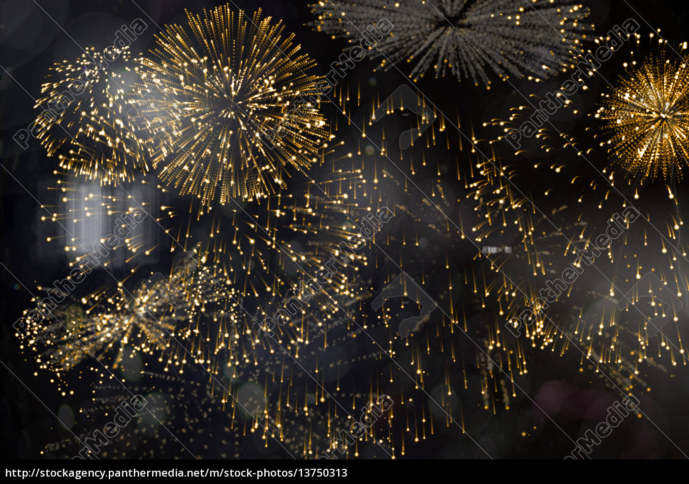 colourful, fireworks, exploding, on, black, background - 13750313