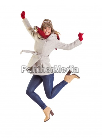 happy, blonde, in, winter, clothes, posing - 13751449
