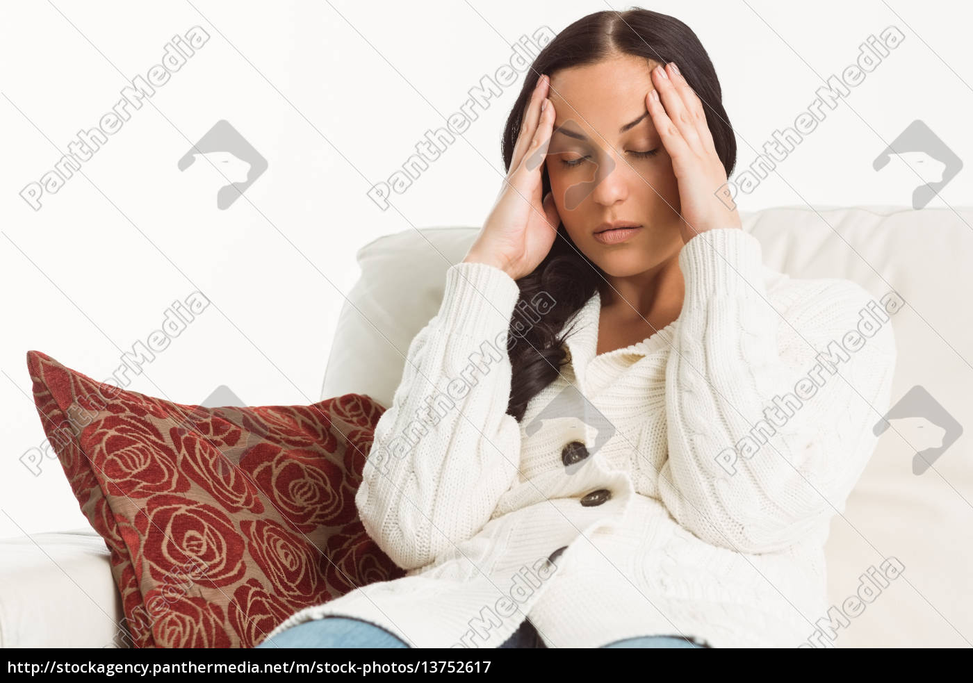 woman, suffering, from, a, migraine - 13752617
