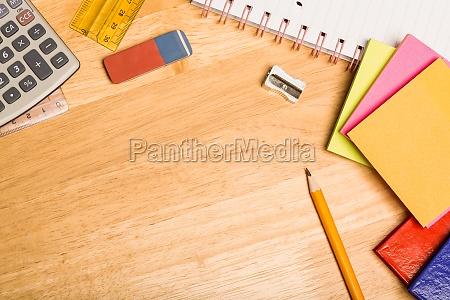 overhead shot of pupils desk