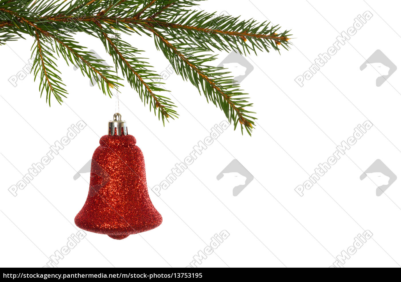 red, christmas, decoration, hanging, from, branch - 13753195