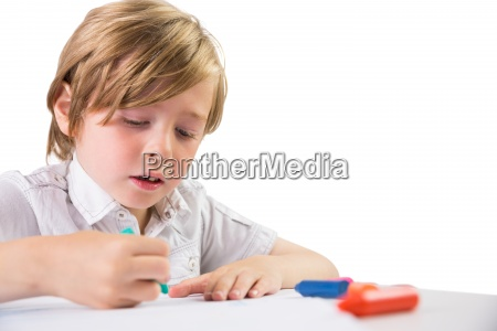 student, using, crayons, to, draw - 13754987