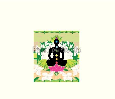 yoga lotus pose padmasana with chakra