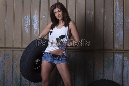 woman and car tires in the