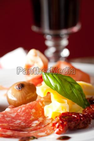 mixed italian antipasti on a plate