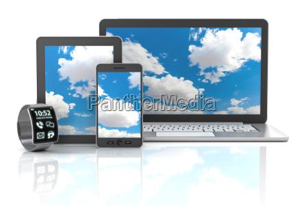 gadgets including smartphone smartwatch digital tablet