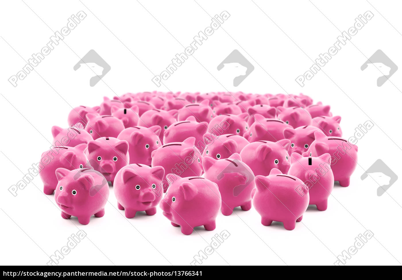 large, group, of, pink, piggy, banks - 13766341