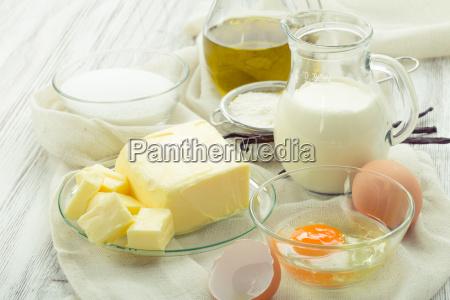 baking ingredients eggs flour sugar butter