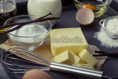 baking, ingredients, eggs, flour, sugar, butter, vanilla, cream - 13772359
