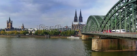 cologne cathedral with hohenzollern bridge and
