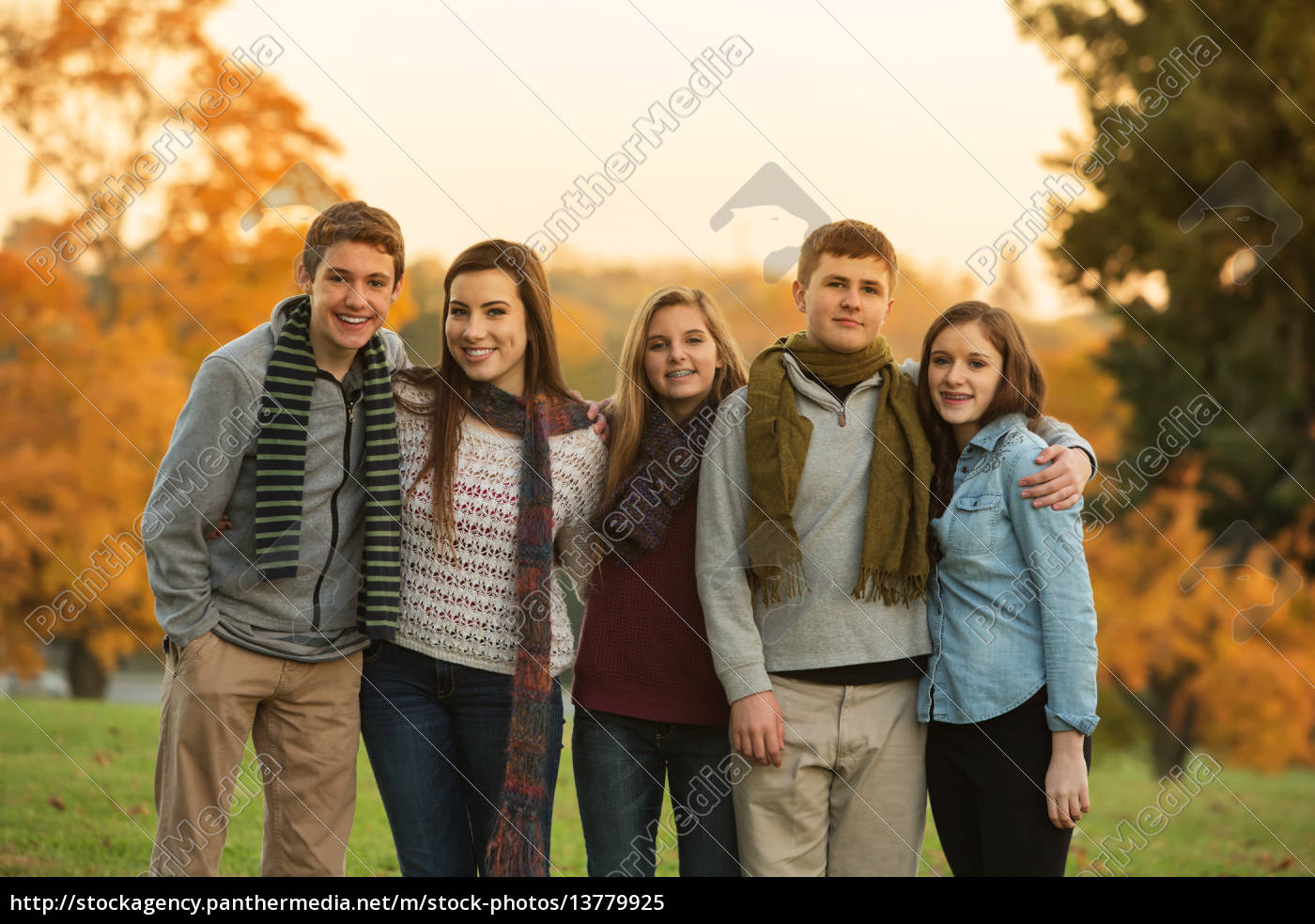 five, cute, teens, with, scarves - 13779925