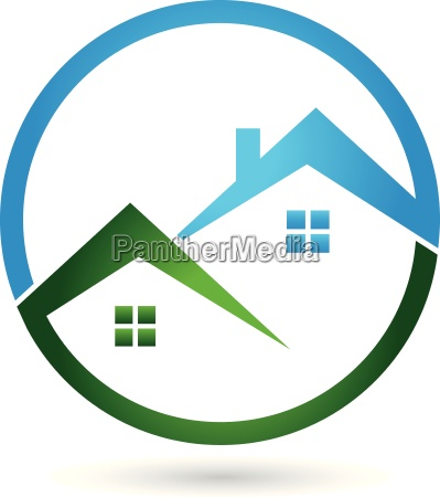 logo real estate two houses roofs