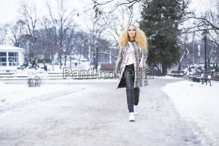 blonde girl in the park on