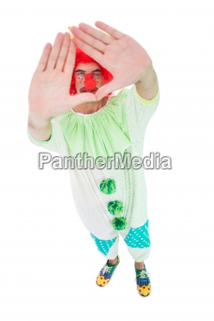 funny clown framing with hands