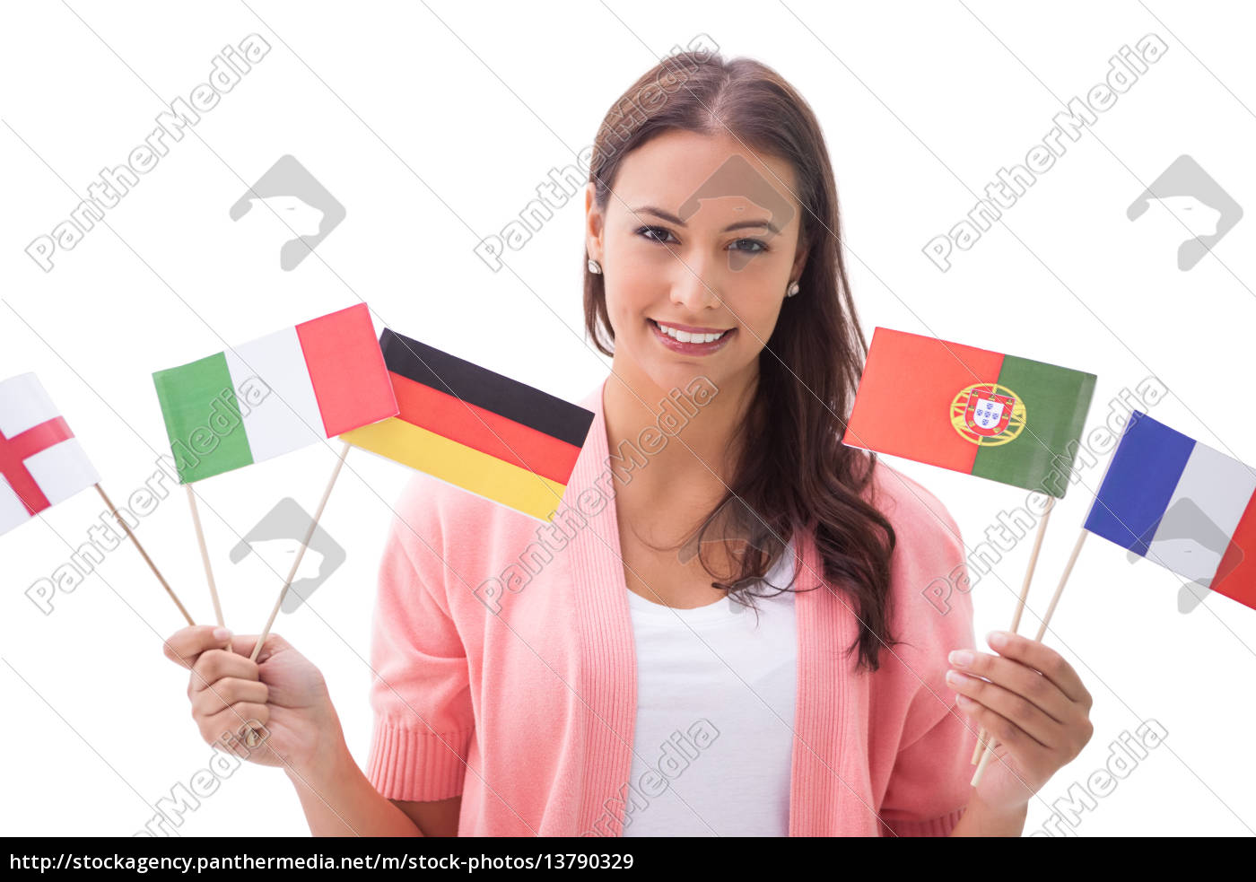 pretty, brunette, smiling, and, holding, flags - 13790329