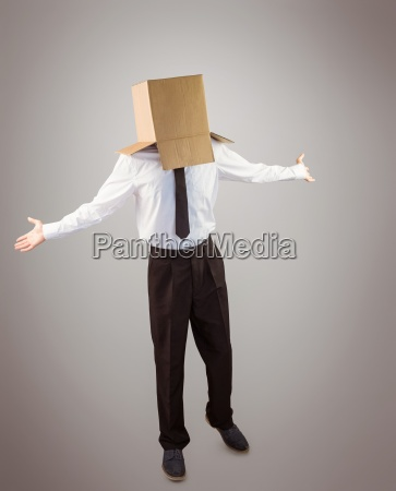 anonymous businessman with arms out