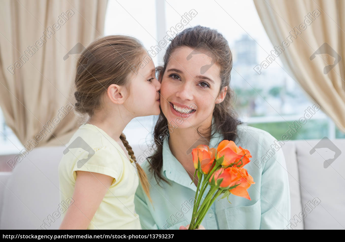 cute, girl, giving, flowers, to, mother - 13793237