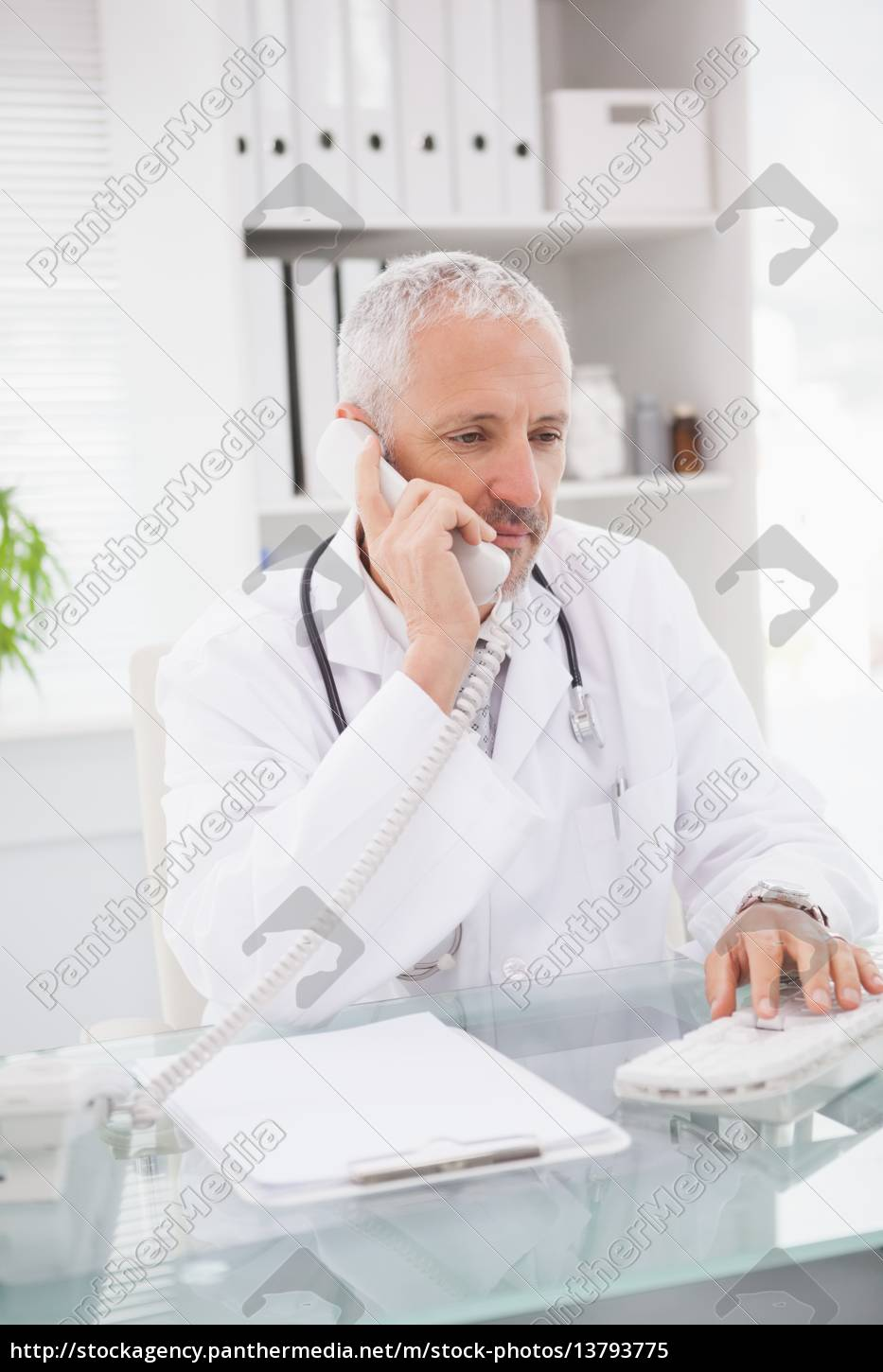 doctor, phoning, and, using, computer - 13793775