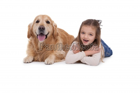 happy girl with her pet dog