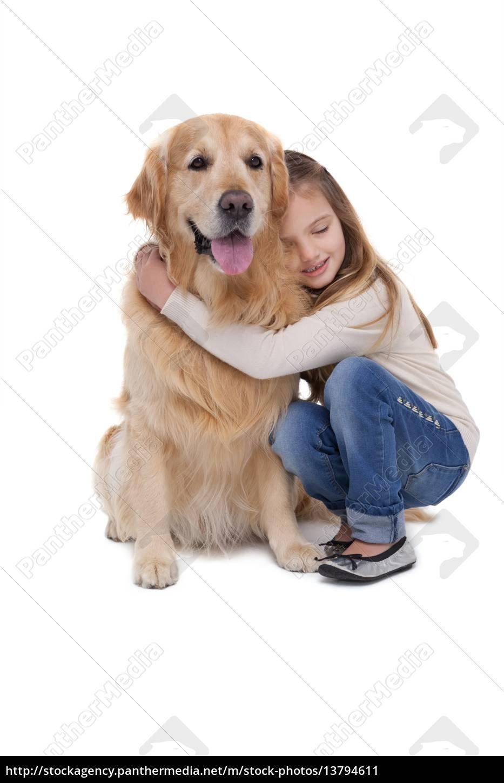 happy, girl, holding, her, dog - 13794611