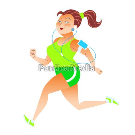 sporty, woman, running, herding, weight, kilocalories - 13801847