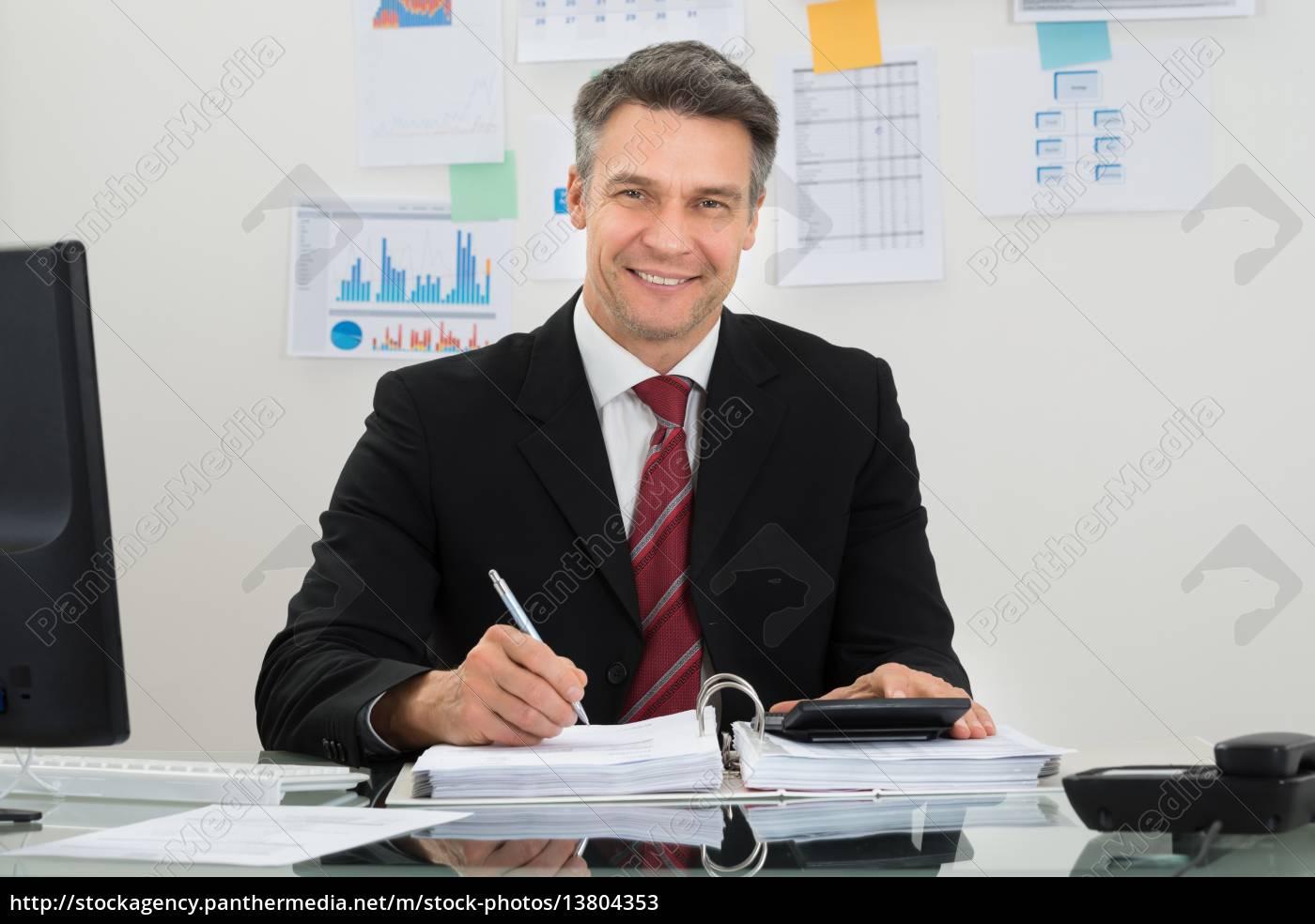 happy, mature, businessman - 13804353