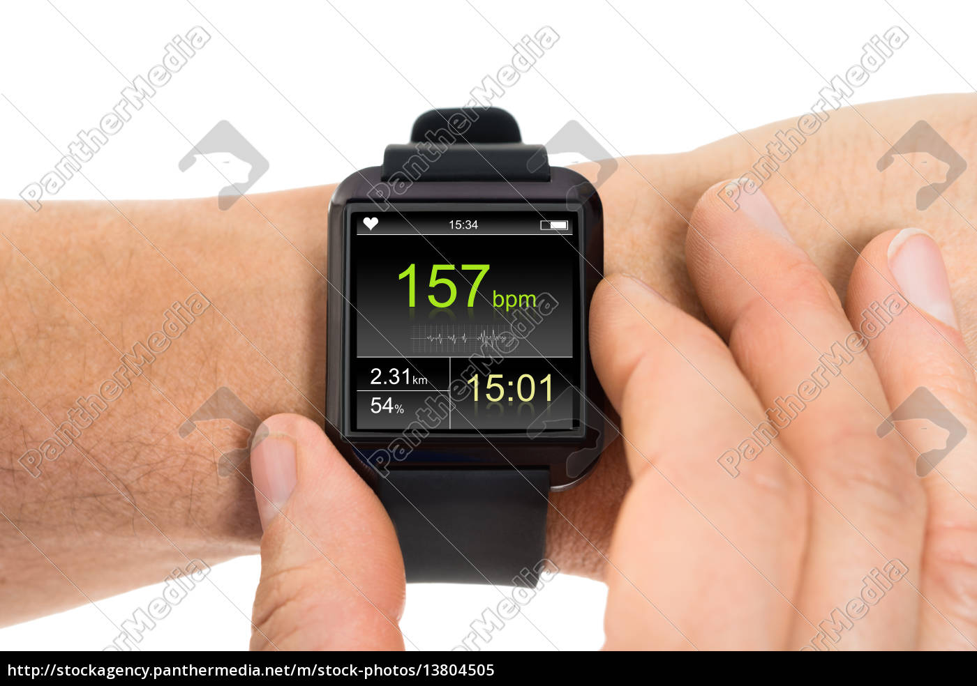 human, hand, with, smartwatch, showing, heartbeat - 13804505