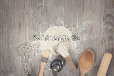 baking tools from overhead view with