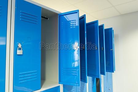 open lockers in the room