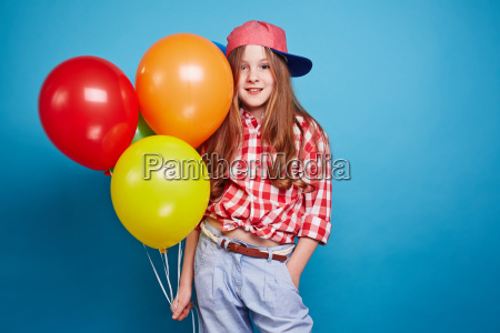 girl, and, colorful, balloons - 13805709