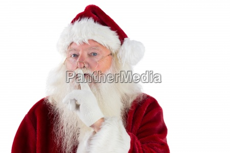 santa asking for quiet to camera