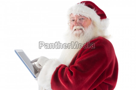 santa uses a tablet pc and
