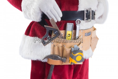 father christmas is wearing a tool