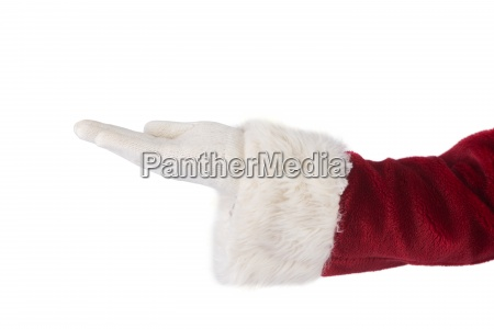 santa claus shows open hand