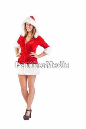 santa girl standing with hands on