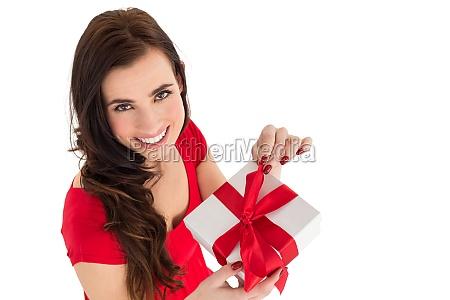 happy brown hair opening gift