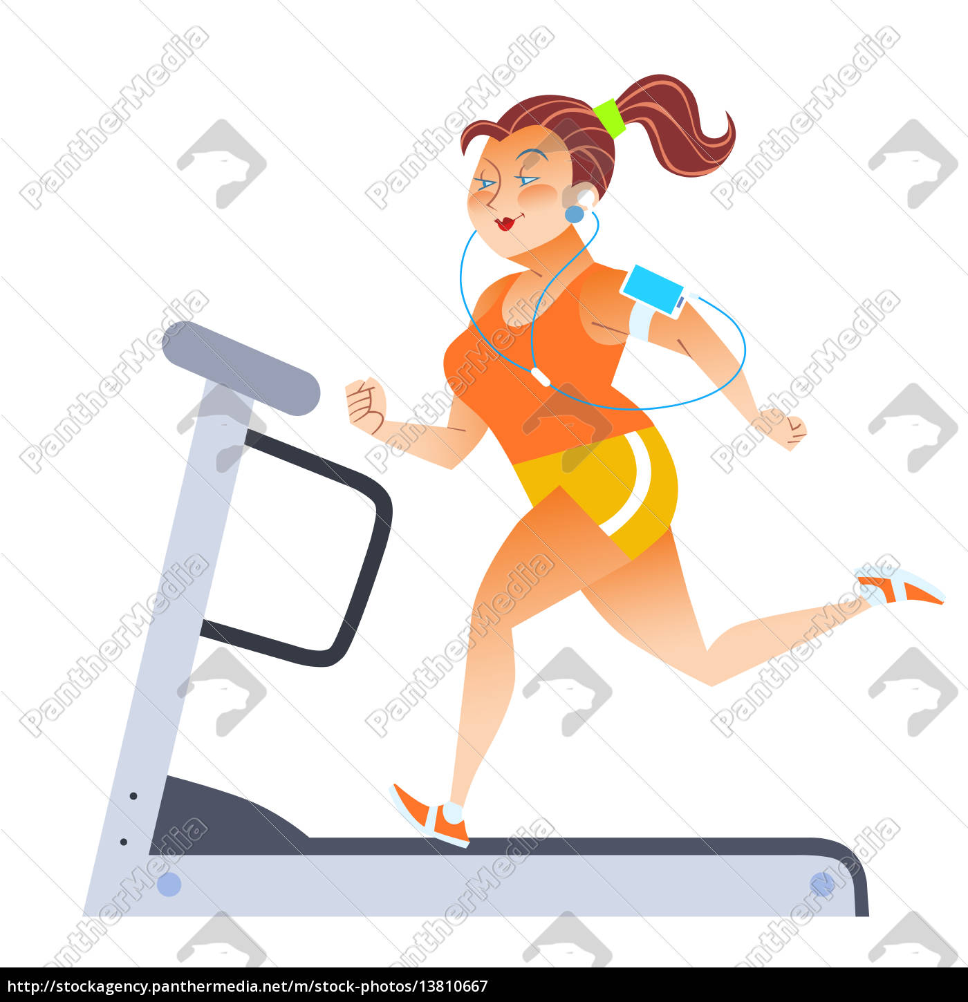 fat, woman, on, sport, stationary, treadmill - 13810667
