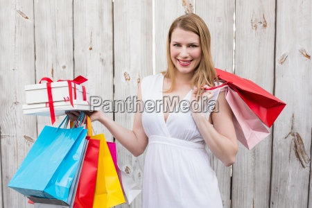 elegant, blonde, with, shopping, bags, and - 13811695