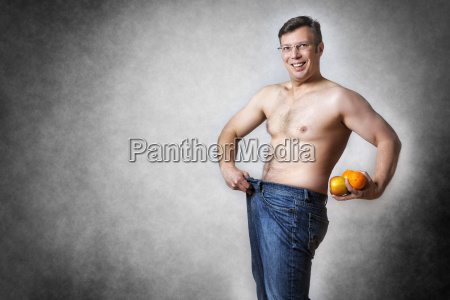man with fruits has lost body