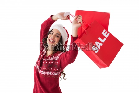 pretty brunette showing sale bag and