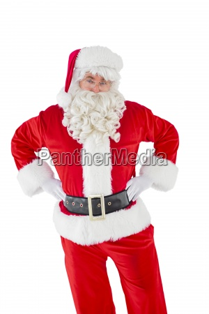 cheerful santa claus with his hands