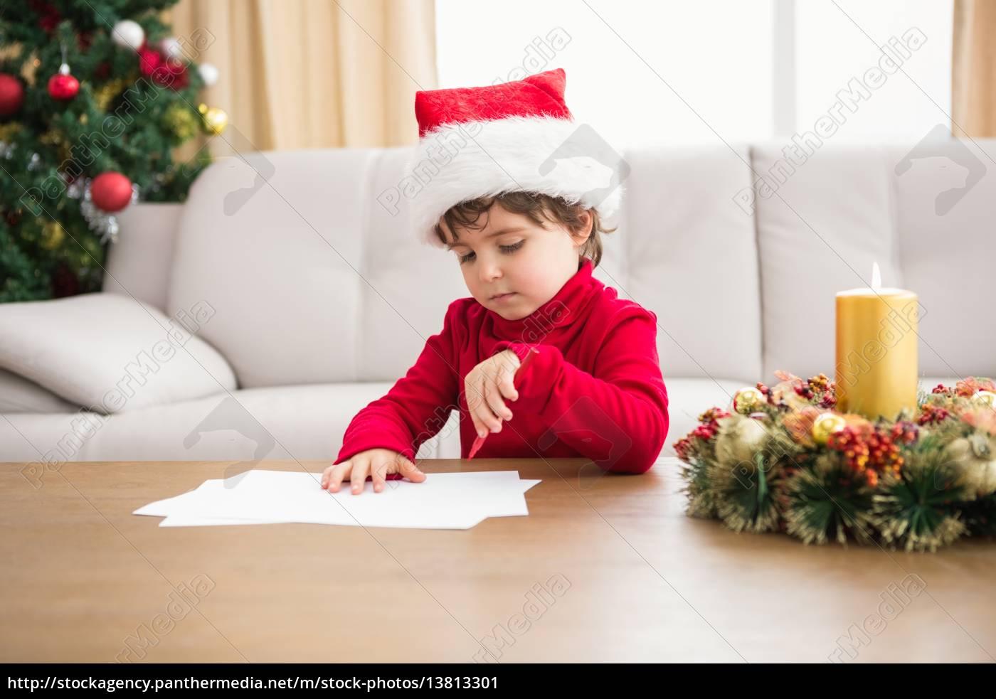 festive, little, boy, writing, wish, list - 13813301