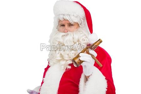 santa claus holding beer and cigar
