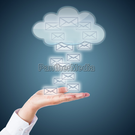 open palm receiving email icons from