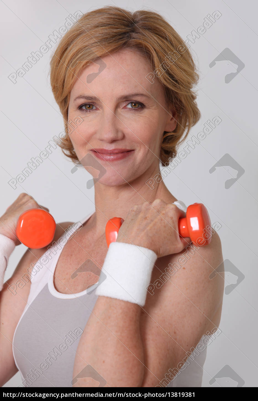 woman, lifting, weights - 13819381