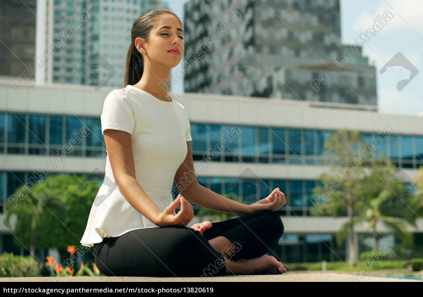 relax, business, woman, yoga, lotus, position - 13820619
