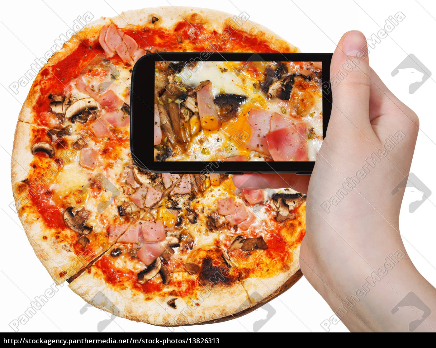 tourist, photographs, of, pizza, with, prosciutto - 13826313