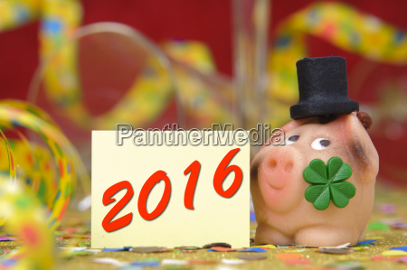 new year 2016 lucky pig and